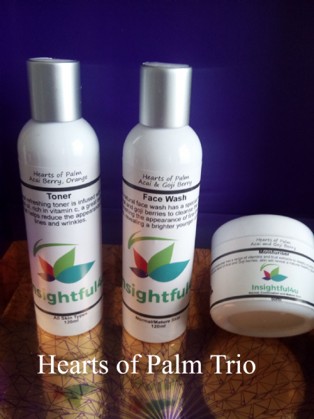 Hearts Of Palm Natural Organic Trio Face Wash, Toner and Moisturiser